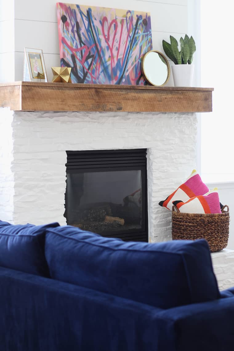 Modern, Rustic Mantel Makeover with Blue Sofa