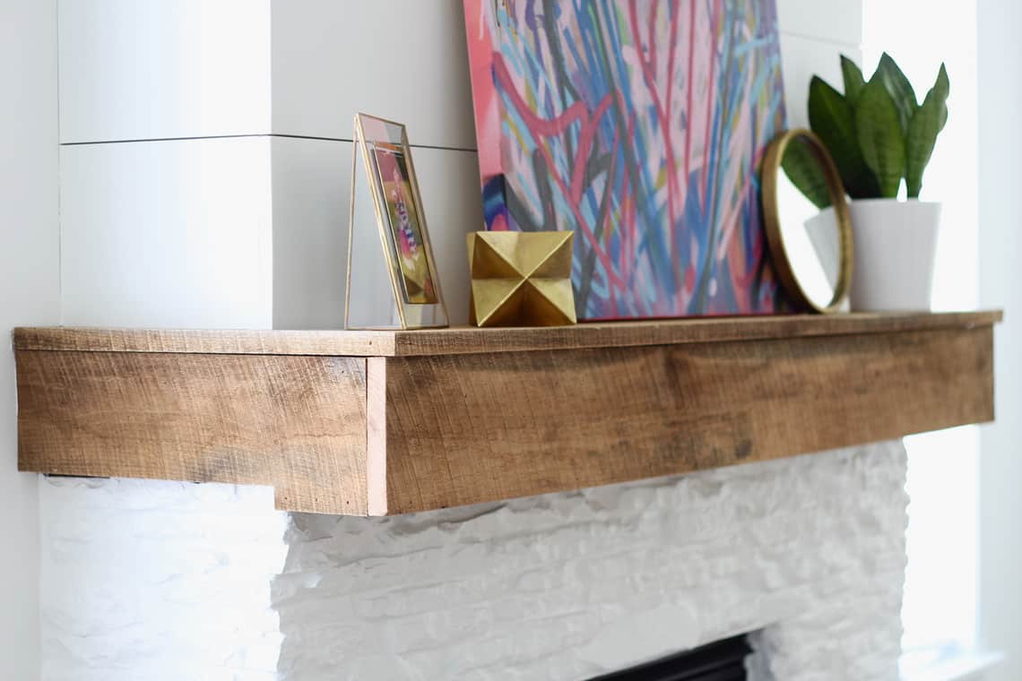 Modern, Rustic Mantel Makeover Detailed mantel