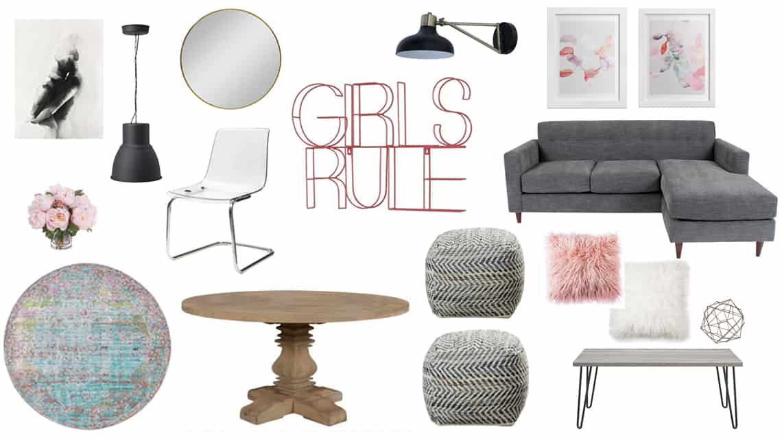 Get The Look: A Fun, Girly Living Space Design Board