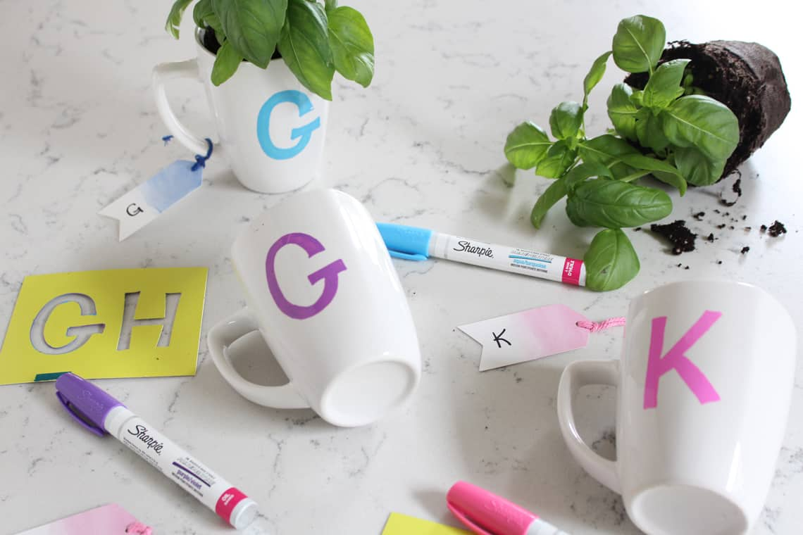 Last Minute DIY Teacher Gift Monogram Mugs with Basil