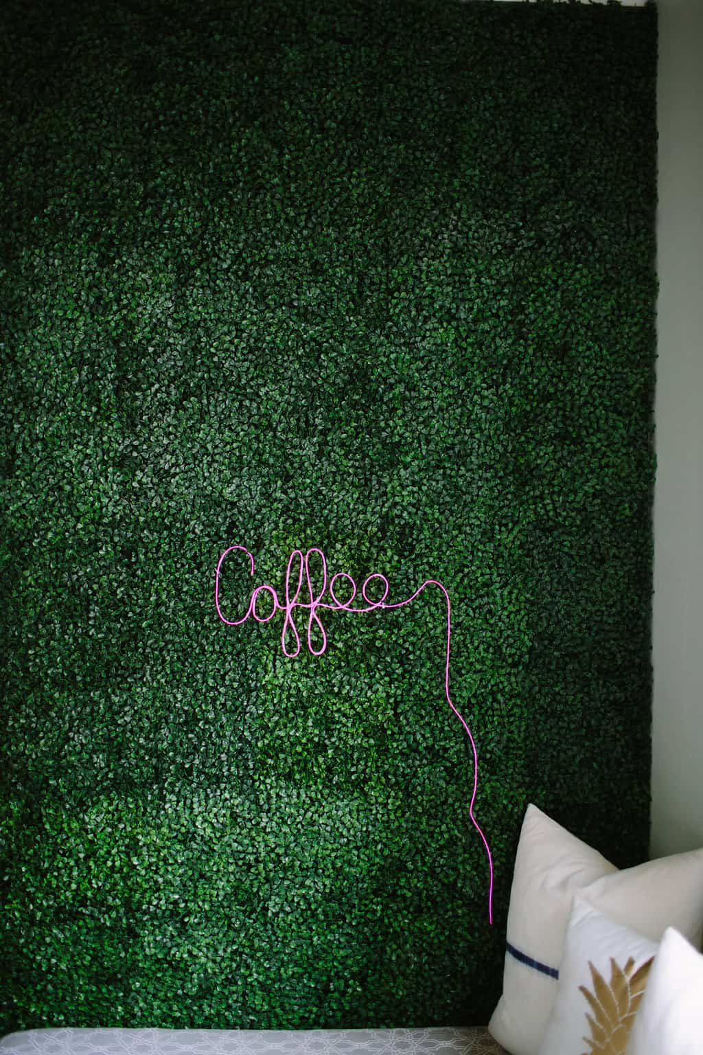 Artificial Boxwood Accent Wall And Diy Neon Sign