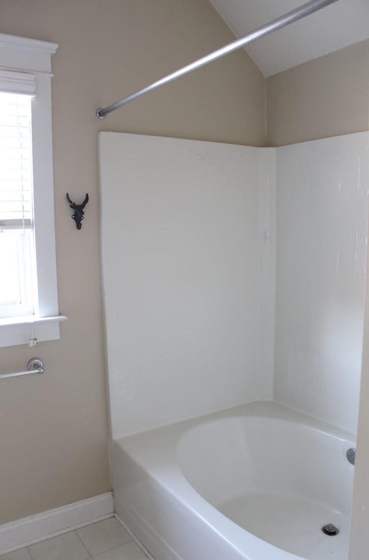 Our Master Bathroom Renovation Progress Report before shower