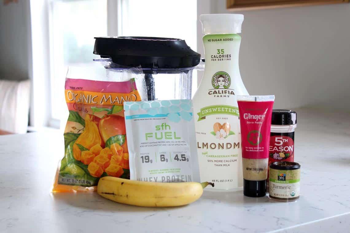 Mango, Ginger + Turmeric Protein Smoothie Recipe ingredients