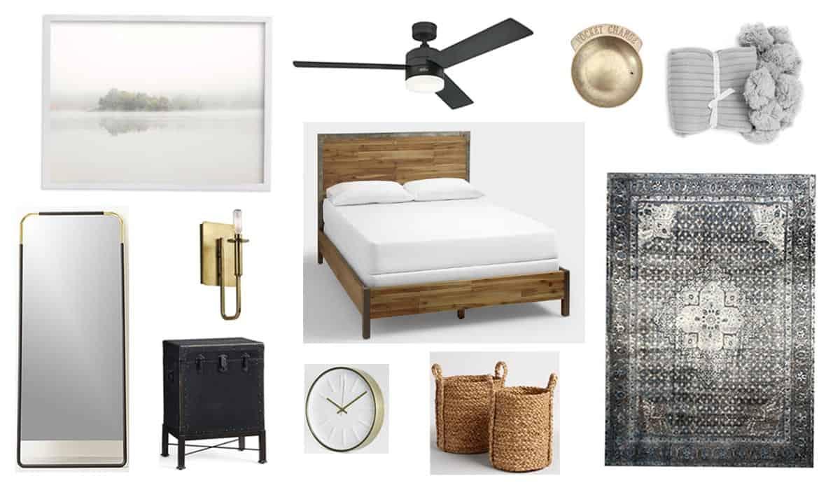 A Modern + Neutral Masculine Bedroom Design Board