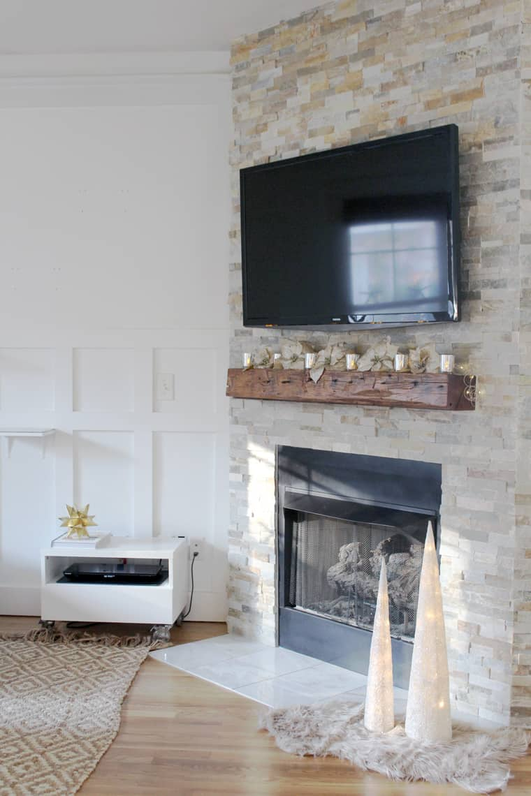 A Gold + Silver Christmas of Lights with At Home fireplace