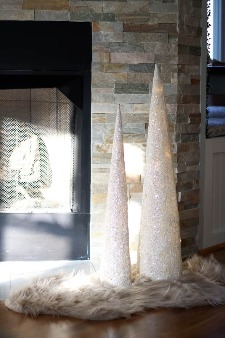 A Gold + Silver Christmas of Lights with At Home cone trees