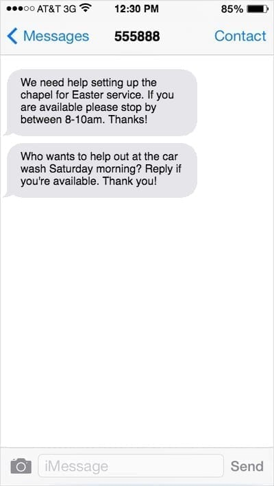 iPhone screen with texts asking for help setting up Easter service and car wash volunteers