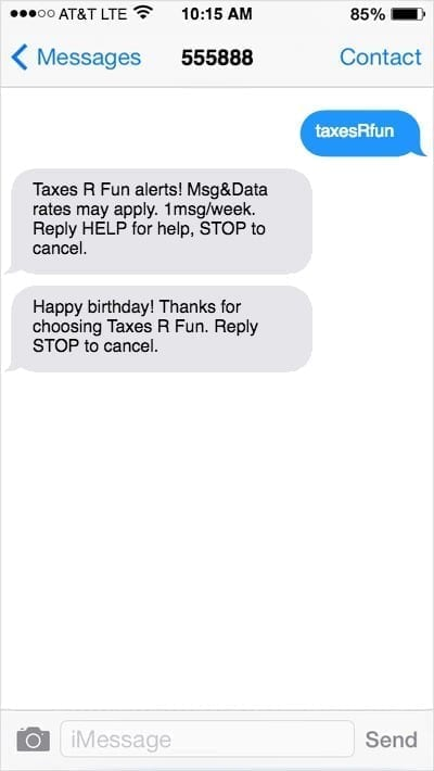 iPhone screen with happy birthday text marketing message