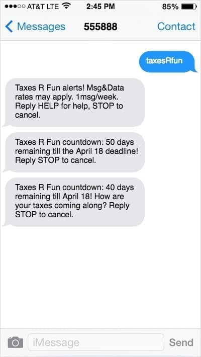 iPhone screens with countdown text example of text marketing message
