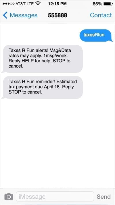 iPhone screen with text marketing reminder about estimated tax