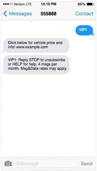 iPhone screen with text message for vehicle price and info