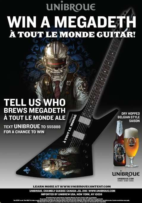 Poster with images of Megadeth band mascot Vic Rattlehead, a bottle and glass of A Tout le Monde beer, and an electric guitar. The copy invites people to text to win the featured guitar.