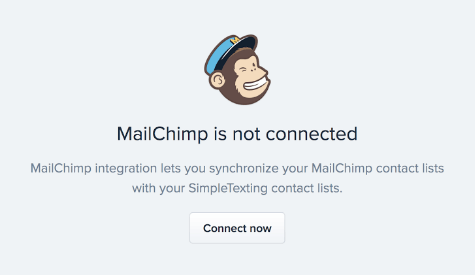 """MailChimp is not connected"" notification with ""Connect now"" button"