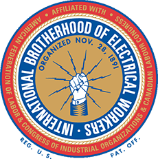 "Circular logo showing a hand grasping lightning bolts; surrounding text reads ""International Brotherhood of Electrical Workers"""