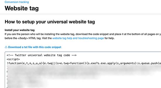 Copier la balise du site Web de suivi des conversions Twitter