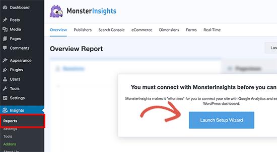 Lancer l'assistant de configuration de MonsterInsights