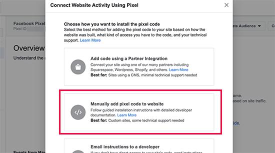 Ajouter manuellement du code pixel à un site Web