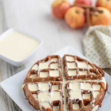 dessert chaffle recipe that is keto and low carb   apple cinnamon chaffle recipe with a vanilla bean sauce