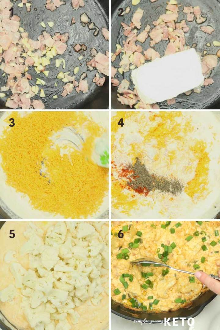 loaded cauliflower casserole process