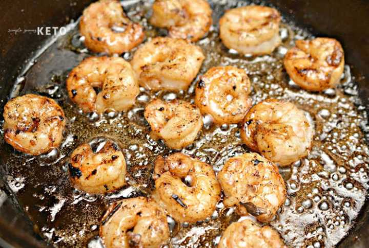shrimp cooking for the surf and turf