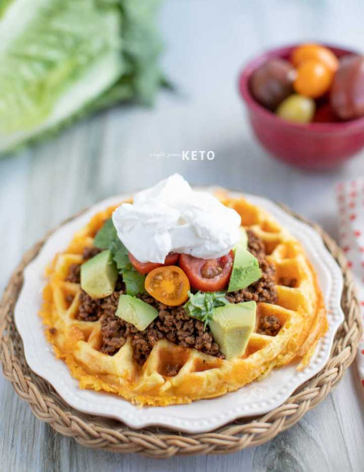 fry bread taco chaffle recipe - keto and low carb taco inspired recipe