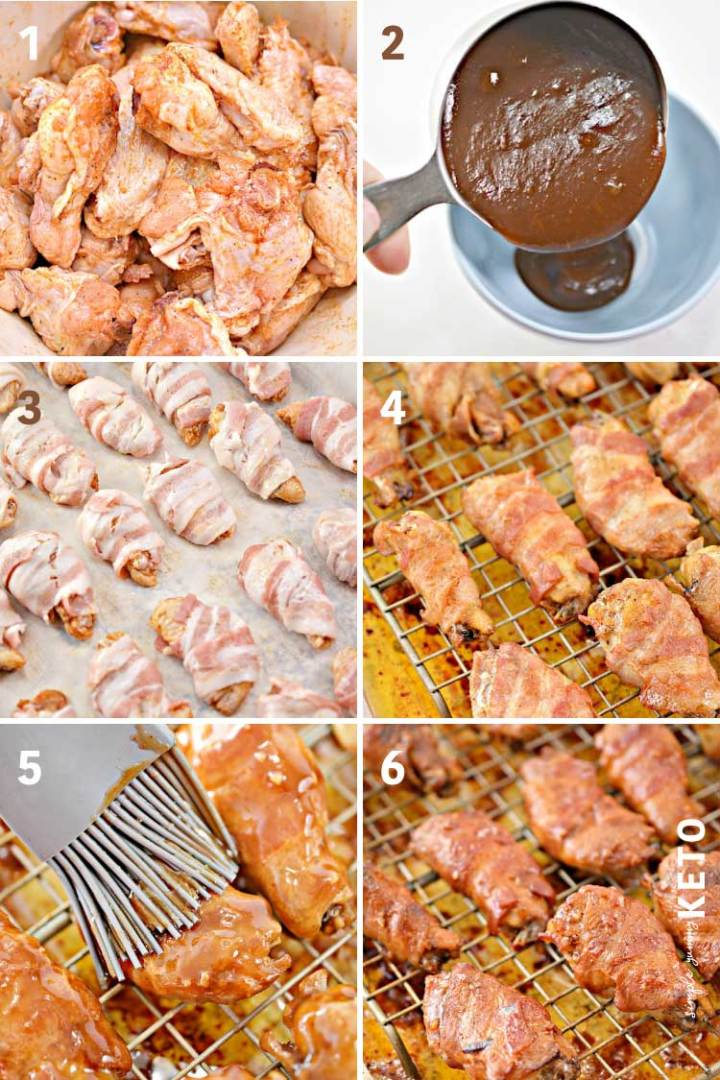how to make bacon wrapped wings