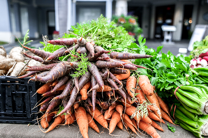 Why to eat seasonally | Bunch of carrots at a local farmers market in naples florida from Inyoni farm