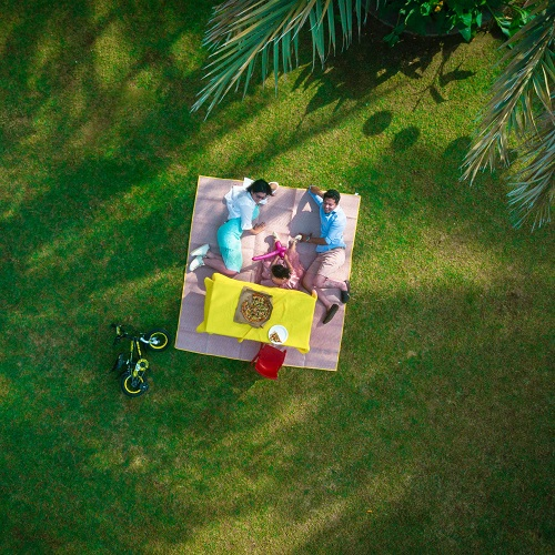 aerial photo of a family picnic