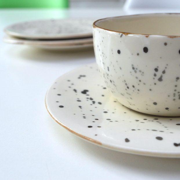Handgemaakt porselein servies voor Sam & Loes bord & kom, Handmade porcelain tableware plate & bowl