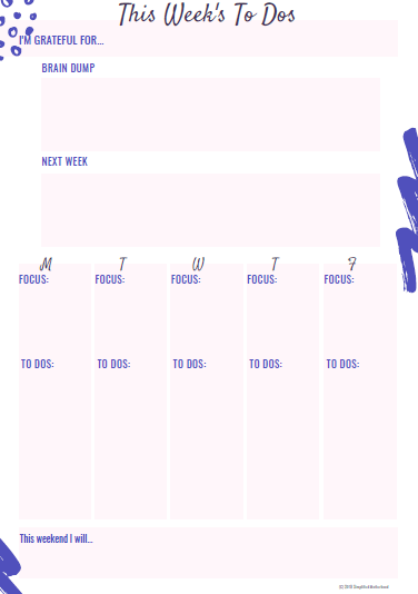 photo regarding Brain Dump Printable referred to as No cost] Printable Weekly Planner PDF 2019 Simplified Motherhood