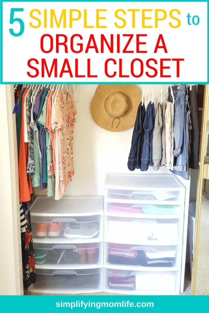 5 Simple Steps to Organize a Small Closet with sliding doors on a budget _ Simplifying Mom Life (1)