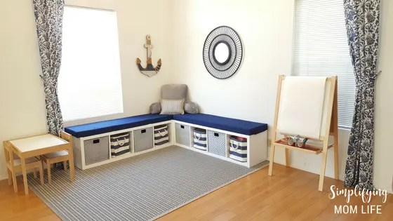 IKEA Kallax Hack Storage Benches For Playroom 1