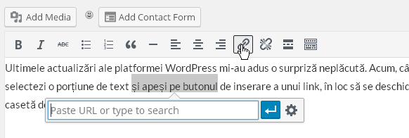 inserare link pe wordpress 1