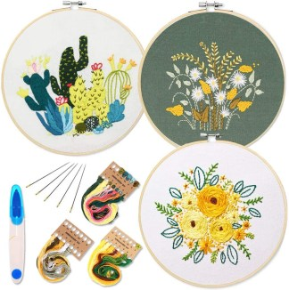 3 Pack Embroidery Starter Kit with Pattern and Instructions
