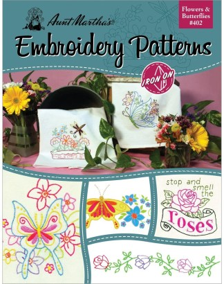 Aunt Martha's 402 Flowers and Butterflies Embroidery Transfer Pattern Book