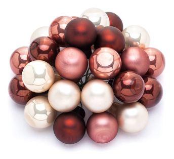 Weihnachtskugeln in Creme, Marsala, Pink