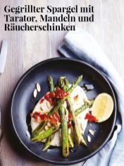 Rezept - Gegrillter Spargel mit Tarator, Mandeln und Räucherschinken - Simply Kreativ – Neue Rezepte für den Thermomix® 03/18
