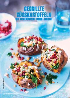 Rezept - Gegrillte Süßkartoffeln mit Kichererbsen-Tahini-Joghurt - Weekly Kochen Extra - 01/2018