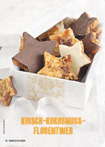 Rezept - Kirsch-Kokosnuss-Florentiner - Simply Kochen Special Weichnachtsgebäck - 01/2018