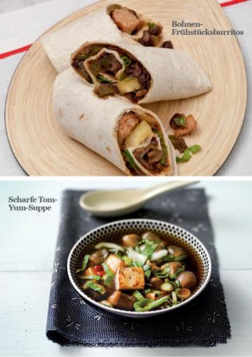 Rezept - Bohnen-Frühstücksburritos / Scharfe Tom-Yum-Suppe - Simply Kreativ - Vegan-Guide 01/2019
