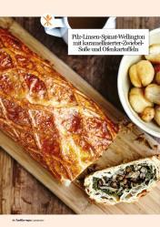 Rezept - Pilz-Linsen-Spinat-Wellington mit karamellisierter-Zwiebel-Soße und Ofenkartoffeln - Healthy Vegan 01/2019