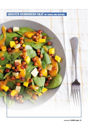 Rezept - Geröstete-Kichererbsen-Salat mit Mango und Avocado - Healthy Vegan 01/2019