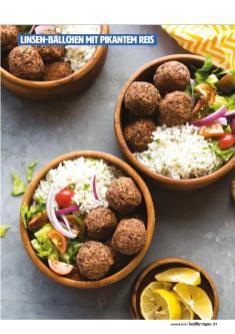 Rezept - Linsen-Bällchen mit pikantem Reis - Healthy Vegan 01/2019