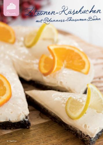 Rezept - Zitronen-Käsekuchen mit Pekannuss-Chiasamen-Boden - Simply Kreativ Superfood 01/2019