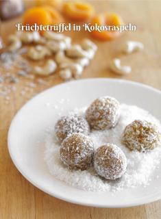 Rezept - Früchtetrüffel in Kokosraspeln - Simply Kochen Sonderheft Zuckerfrei 01/2019