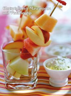 Rezept - Obstspieße mit Mascarpone und Pistaziendip - Simply Kochen Sonderheft Zuckerfrei 01/2019