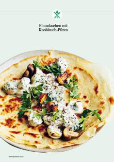 Rezept - Pfannkuchen mit Knoblauch-Pilzen - Healthy Vegan 02/2019