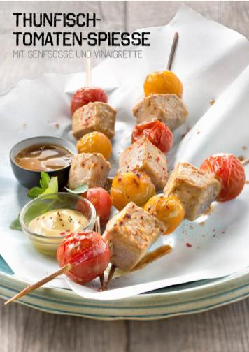 Rezept - Thunfisch-Tomaten-Spieße mit Senfsoße und Vinaigrette - Simply Kochen Sonderheft Paleo-Diät 01/2019