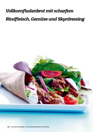 Rezept - Vollkornfladenbrot mit scharfem Rindfleisch-Gemüse und Skyrdressing - Simply Kochen Sonderheft Körper ohne Entzündungen 01/2019