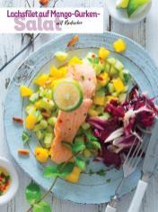 Rezept - Lachsfilet auf Mango-Gurken-Salat mit Radicchio - Simply Kochen Sonderheft - Frühlingssalate